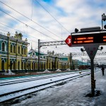 The snowy platform at Irkutsk train station