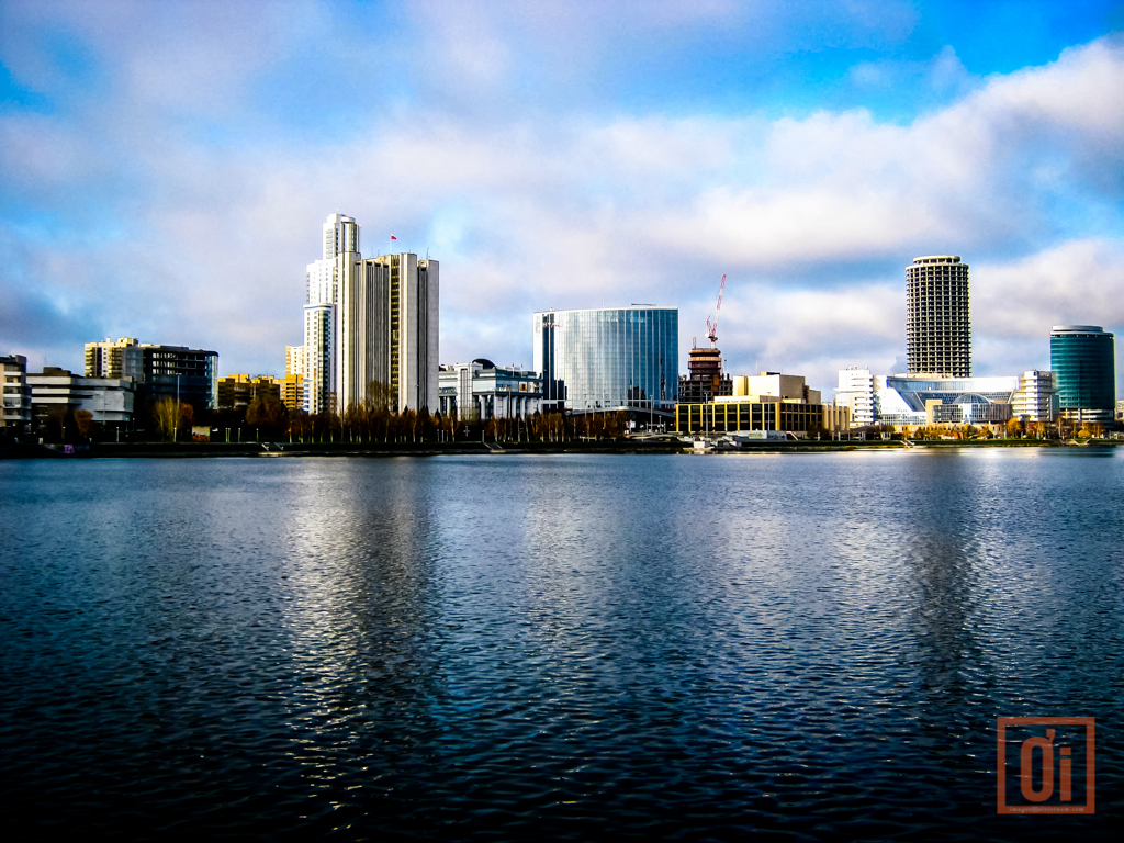 The shimmering city lake in the centre of Yekaterinburg, Russia