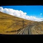 Rear view window view of Mongolia