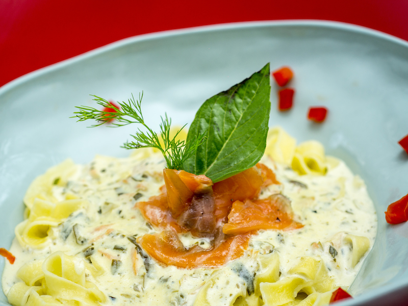 Mach House-Salmon with fettuccine pasta and cream sauce