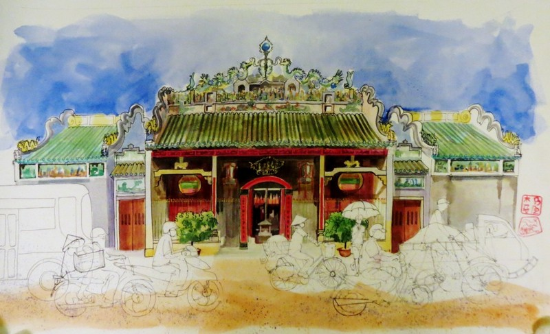 Cho-Lon-Temple-Bridget-March-watercolour-on-paper-76-x-49-10450000 (OiVietNam_3N)