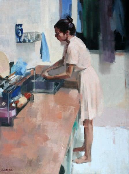 Denise in Kitchen, 60x45 cm, oil on vanvas, 2014 (OiVietNam_3N)