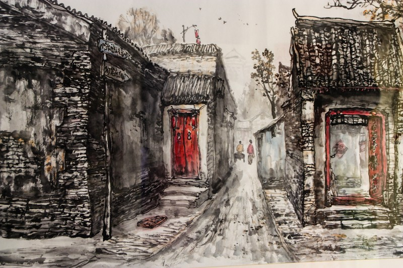 Painting of hutong street - Image by James Pham-61 (OiVietNam_3N)