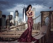 Jessica Minh Anh in Fetty Rusli dress on the Brooklyn Bridge 2