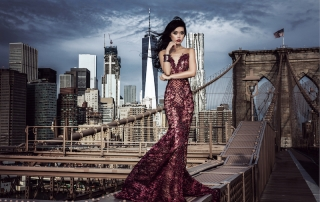 Jessica Minh Anh in Fetty Rusli dress on the Brooklyn Bridge 2