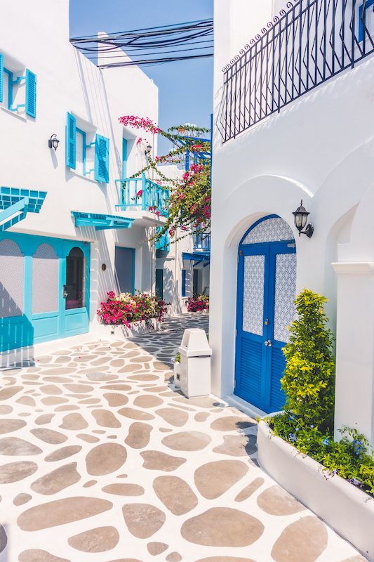 Beautiful Architecture building Exterior with santorini and greece style - Vintage light filter