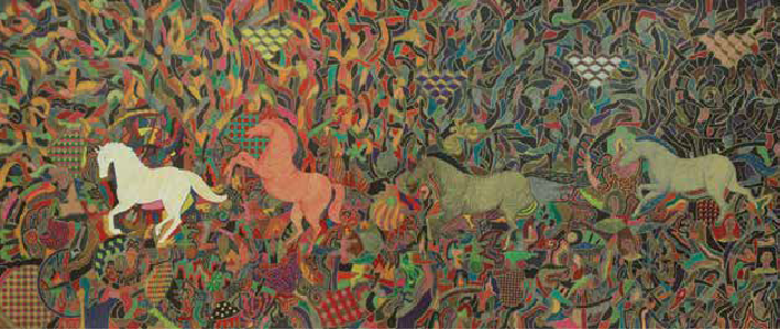 Tuyp Tran - Touch of Creation - 50x70cm - color marker on elephant hide paper