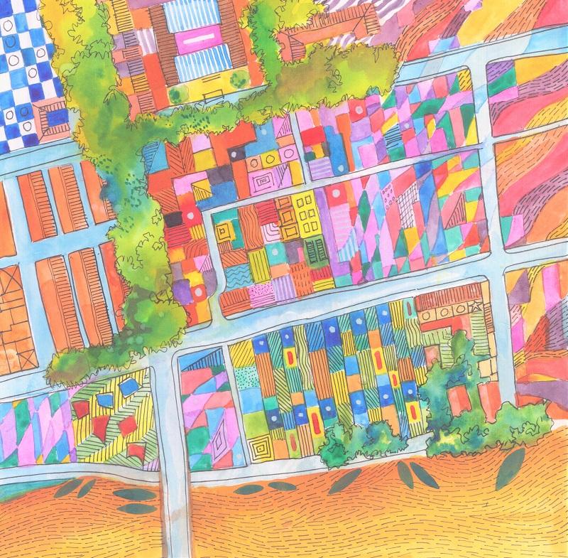Flow - Bridget March - watercolour 20x20cm